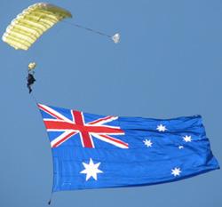 Parachutist starts the Bateman's Bay Sprint Distance Triathlon event