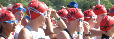Caroline and Jill at the start of the swim leg of the Sprint Triathlon