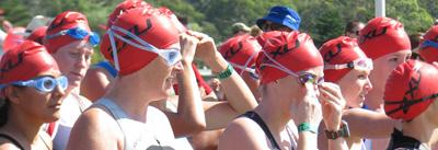 Caroline and Jill at the start of the swim leg of the Sprint Triathlon